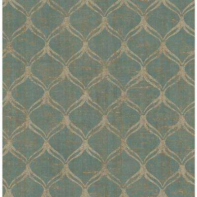 56.4 sq. ft. Bowery Teal Ogee Wallpaper