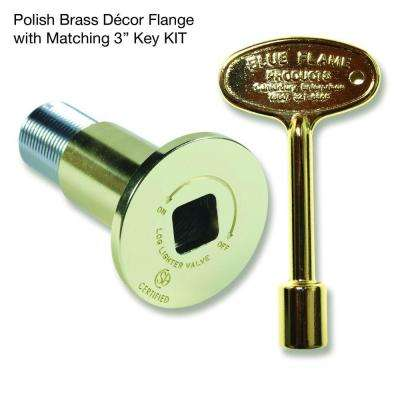 Gas Valve Flange and Key Kit in Polished Brass