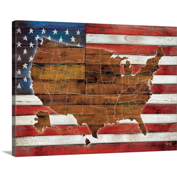 Greatbigcanvas American Flag Usa Map By Rae Marla Canvas Wall Art - American-flag-us-map