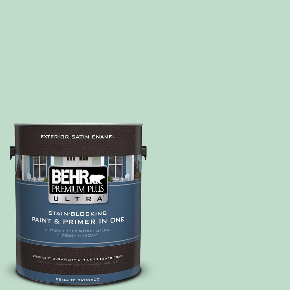 BEHR Premium Plus Ultra 1-gal. #470C-3 Spirited Green Satin Enamel Exterior Paint