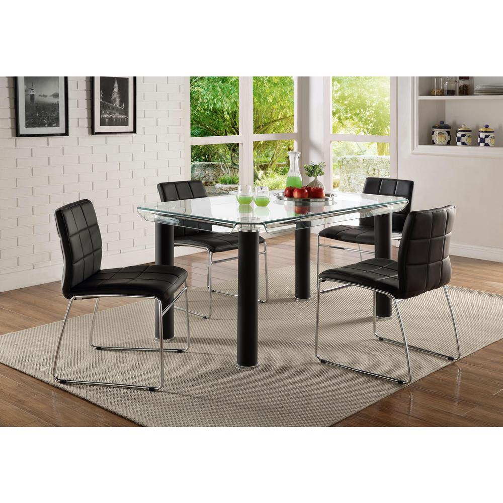 ACME Furniture Gordias Black PU and Chrome Side Chair 70268