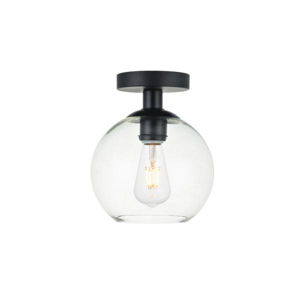 Timeless Home Blake 7.9 in. W x 9.3 in. H 1-Light Black and Clear Glass Flush Mount