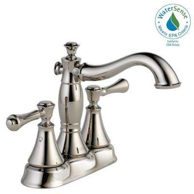 Cassidy 4 in. Centerset 2-Handle Bathroom Faucet with Metal Drain Assembly in Polished Nickel