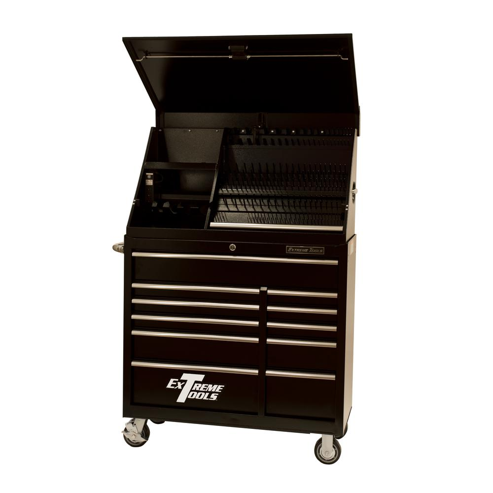 Extreme Tools 41 in. Extreme Portable Workstation and 11-Drawer Standard Roller Cabinet Combination, Black