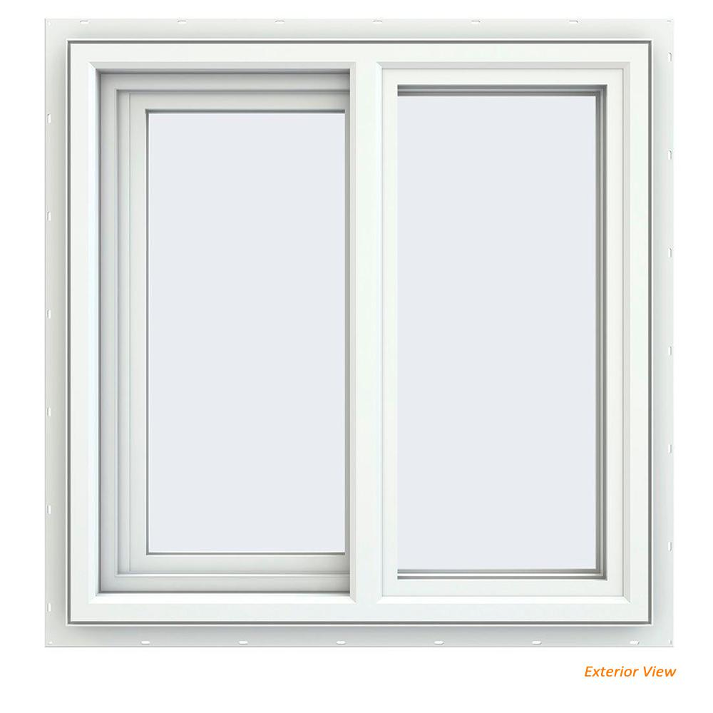 JELD-WEN 23.5 in. x 23.5 in. V-4500 Series White Vinyl Left-Handed Sliding Window with Fiberglass Mesh Screen