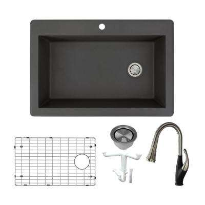 Radius All-in-One Drop-in Granite 33 in. 1-Hole Single Bowl Kitchen Sink with Faucet in Black