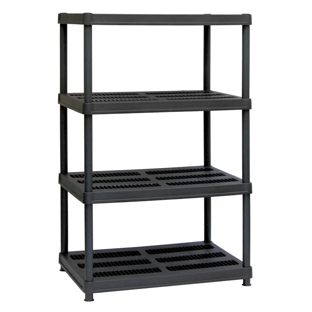 Sandusky 56 in. H x 36 in. W x 24 in. D 4-Shelf Black Plastic Shelving Unit