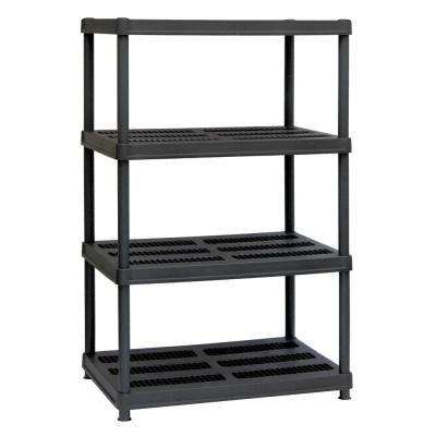 56 in. H x 36 in. W x 24 in. D 4-Shelf Black Plastic Shelving Unit