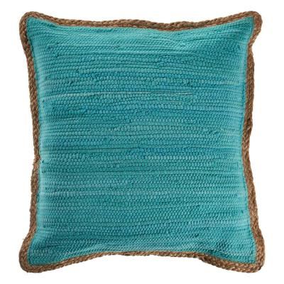 Solitaire Turquoise Blue Solid Woven Cozy Poly-fill 20 in. x 20 in. Throw Pillow