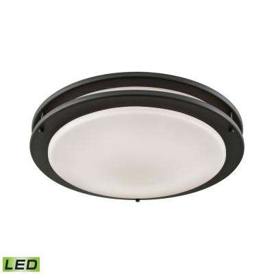 Clarion 75-Watt Oil Rubbed Bronze Integrated LED Flushmount