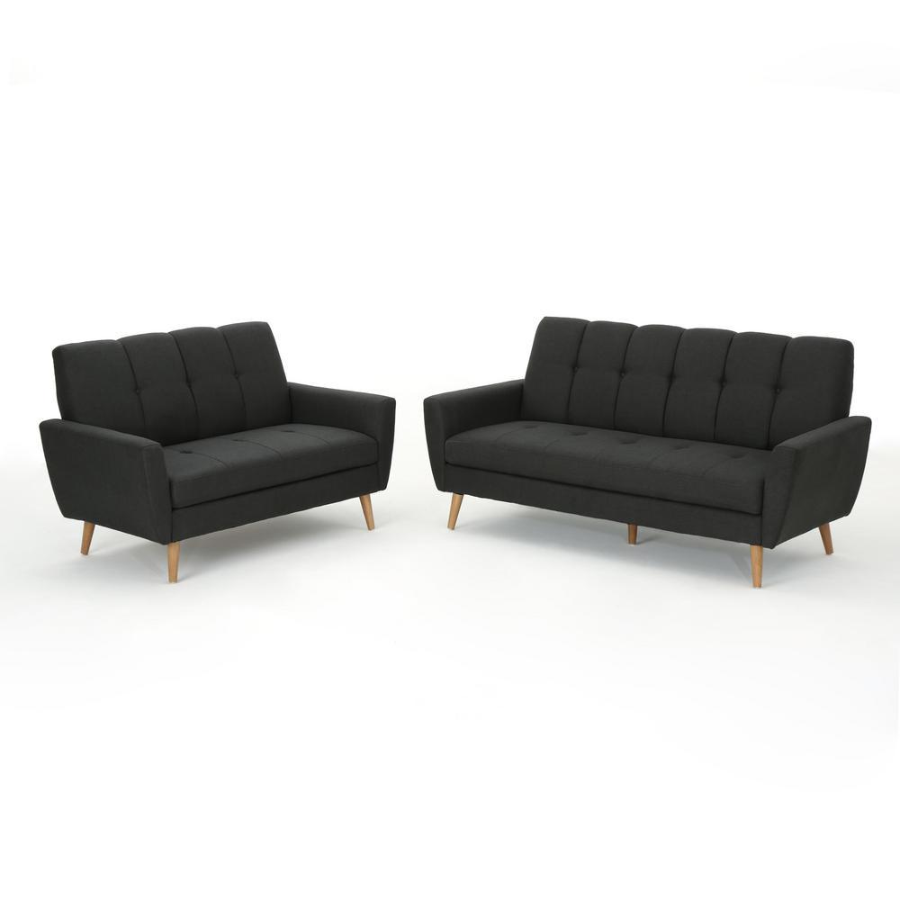 Black Fabric Sofa and Loveseat Set