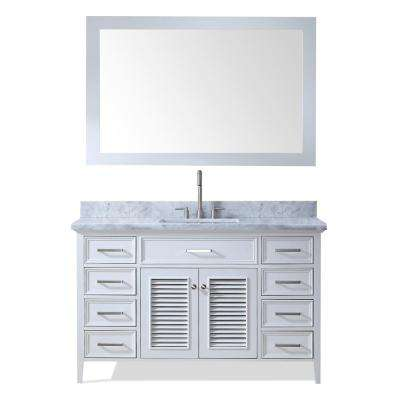 Kensington 55 in. Bath Vanity in White with Marble Vanity Top in Carrara White with White Basin and Mirror