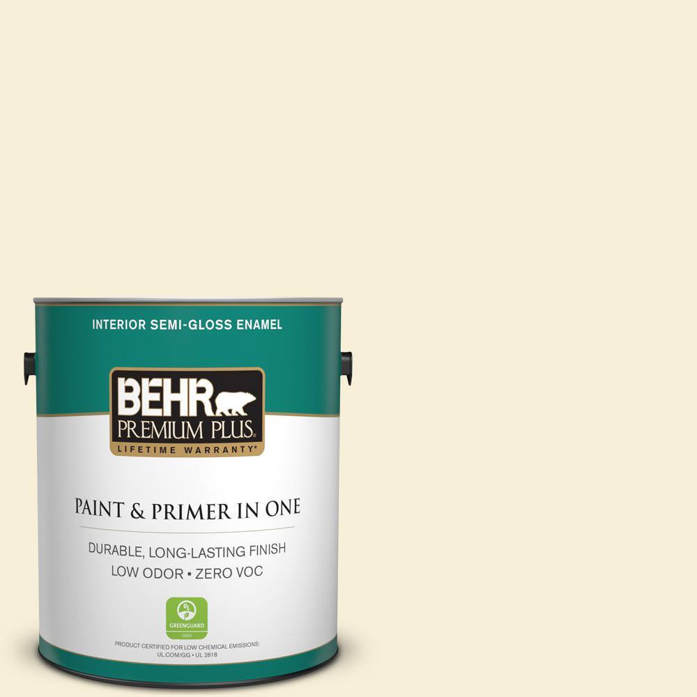 BEHR Premium Plus 1-gal. #340A-1 Pineapple Fizz Zero VOC Semi-Gloss Enamel Interior Paint