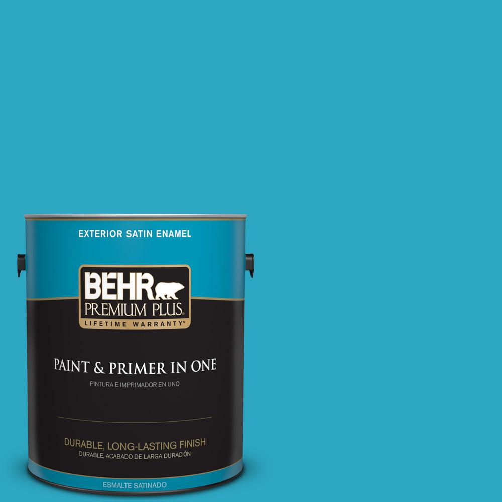 1 gal. #MQ4-52 Gulf Waters Satin Enamel Exterior Paint and Primer