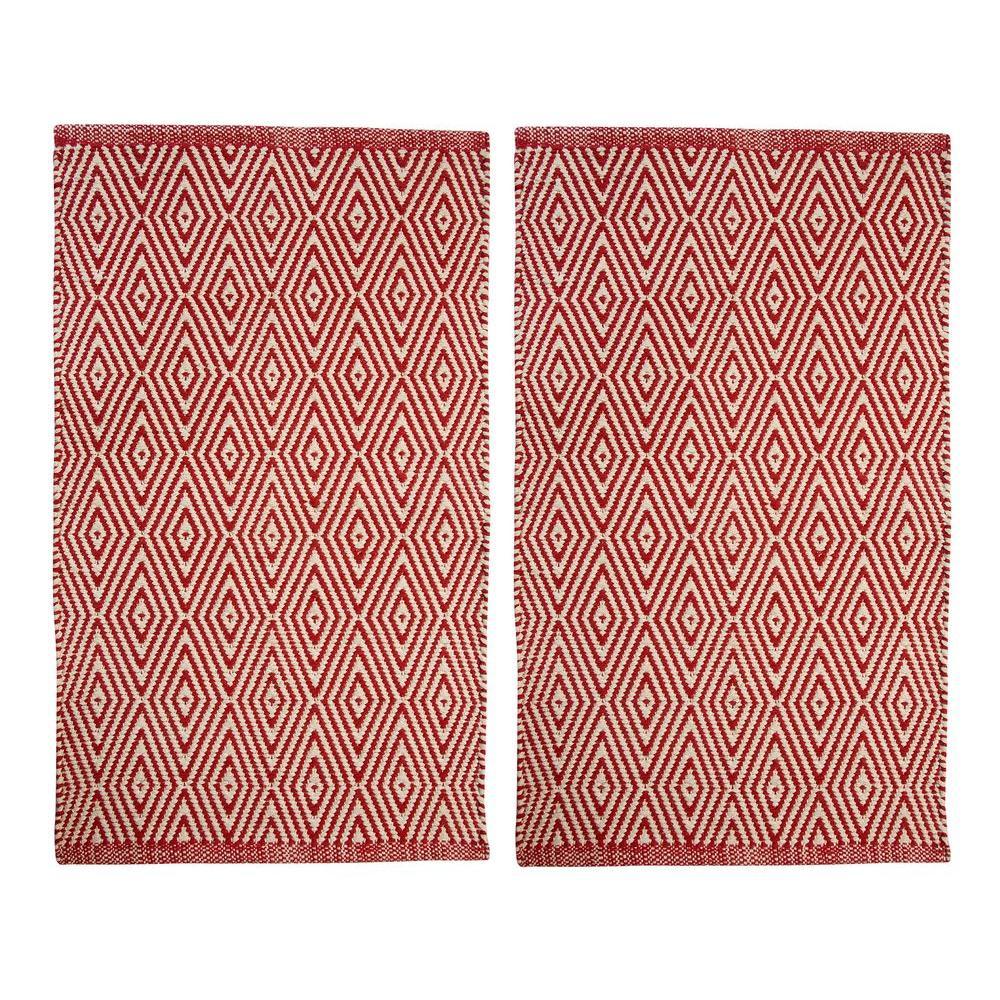 Portland Diamond Red 2 ft. x 3 ft. 2-Piece Rug Set