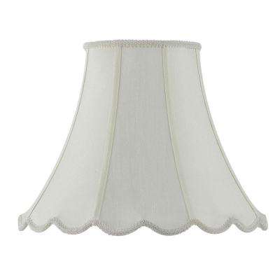 14 in. x 18 in. Champagne Vertical Piped Scallop Bell Shade