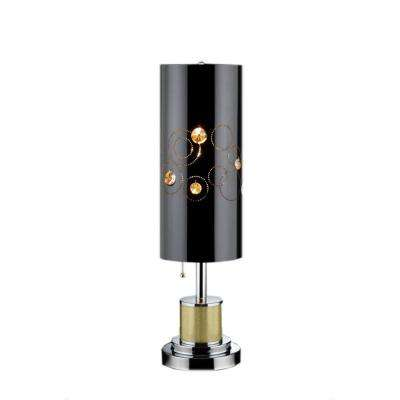 28 in. Black/Silver Chrome Steel Starry Night Buffet Table Lamp