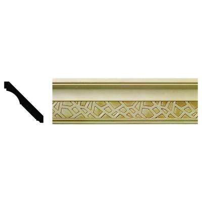 1624 1/2 in. x 3-21/32 in. x 6 in. Hardwood White Unfinished Cracked Ice Crown Moulding Sample