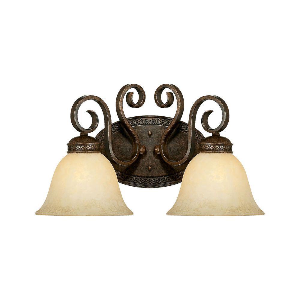 2-Light Bronze/Gold Vanity Light with Turinian Scavo Glass