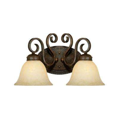 2-Light Bronze/Gold Vanity Light with Turinian Scavo Glass