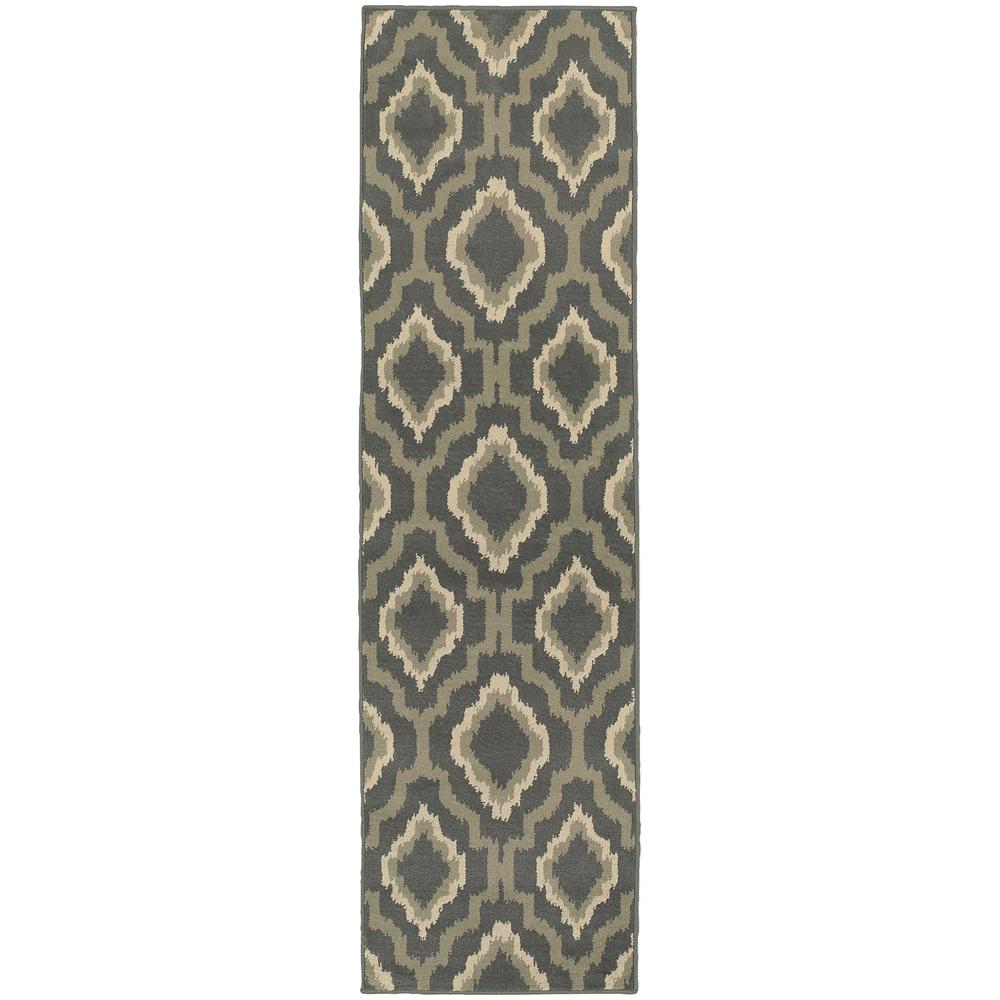 Orian Rugs Patterson Charcoal: Orian Rugs Flume Black Taupe 1 Ft. 11 In. X 7 Ft. 6 In