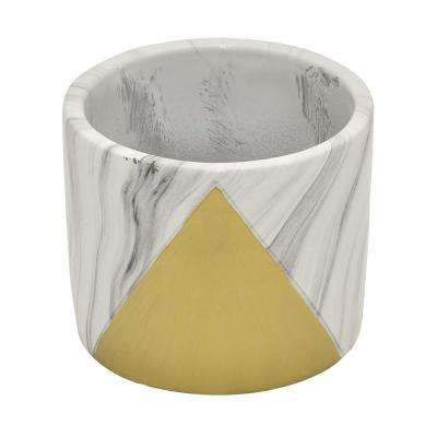 4 in. Marble Look Gold - Gold Flower Pot