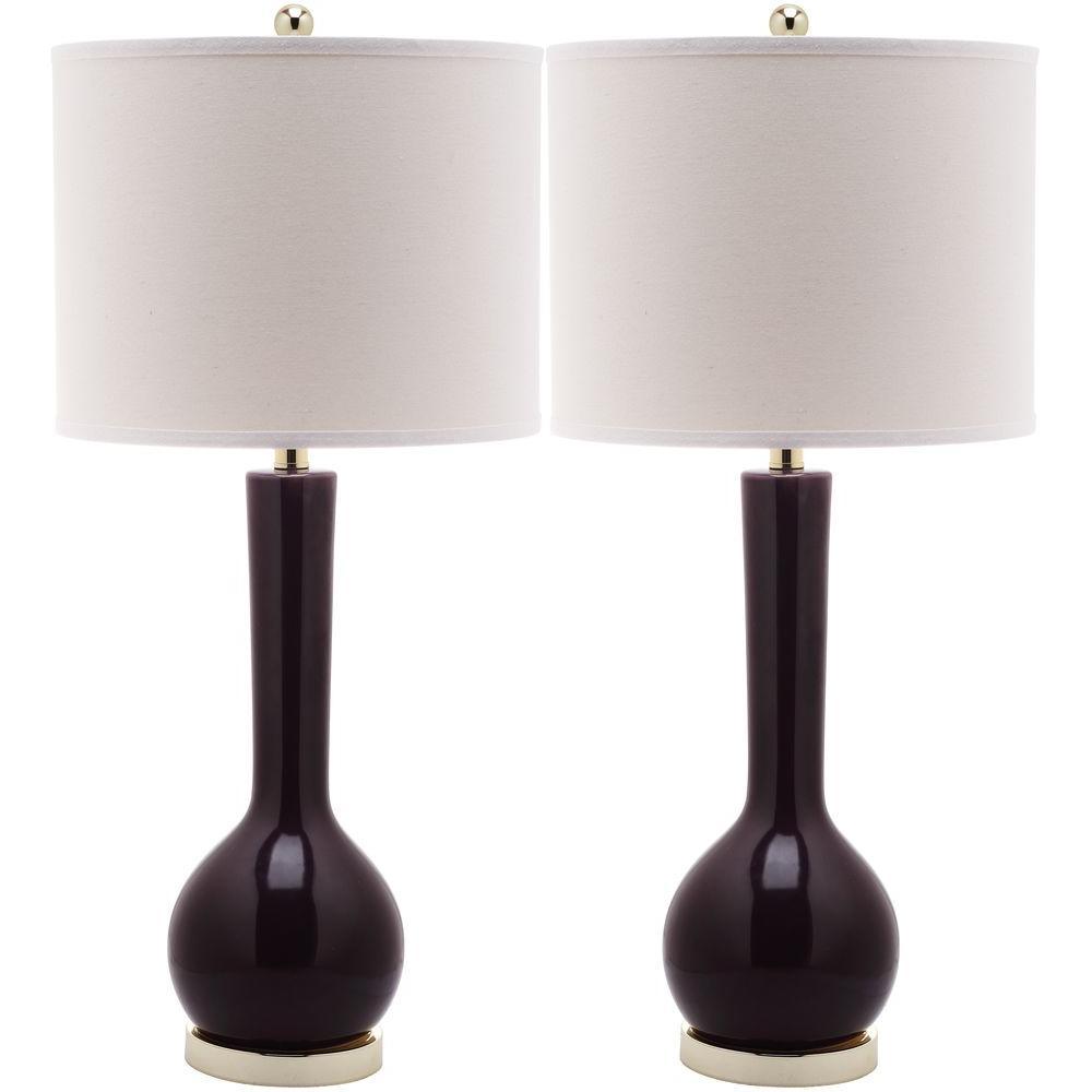 Dark Purple Long Neck Ceramic Table Lamp (Set Of 2)