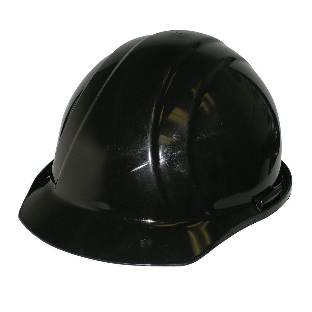 4 Point Nylon Suspension Mega Ratchet Cap Hard Hat in Black