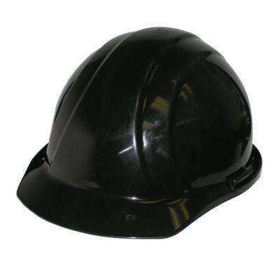 4 Point Nylon Suspension Slide-Lock Cap Hard Hat in Black