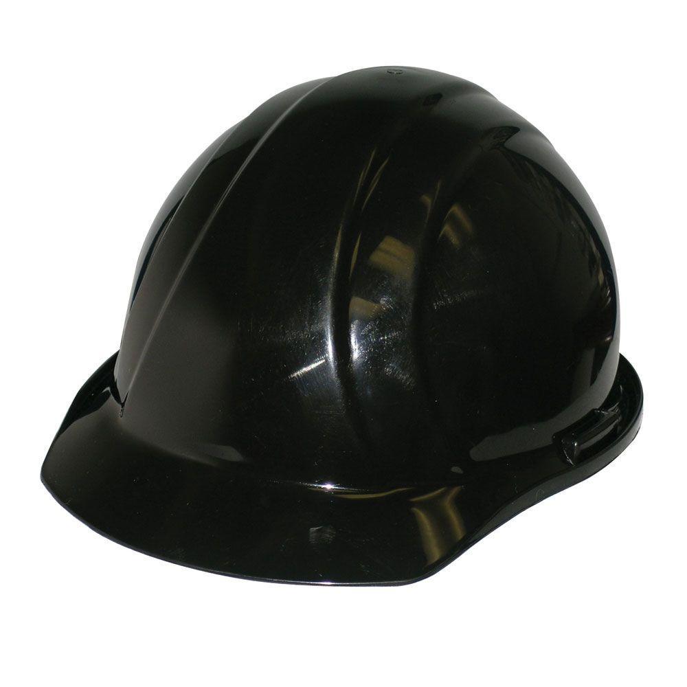 4 Point Nylon Suspension Slide-Lock Cap Hard Hat in Black