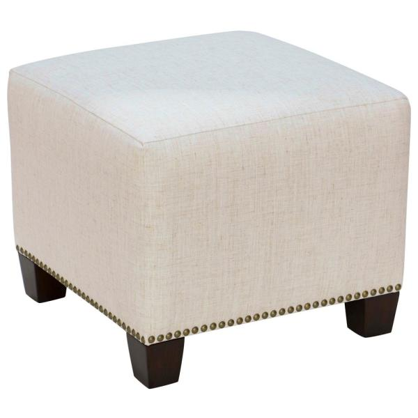 Swell Linen Talc Square Nail Button Ottoman Caraccident5 Cool Chair Designs And Ideas Caraccident5Info