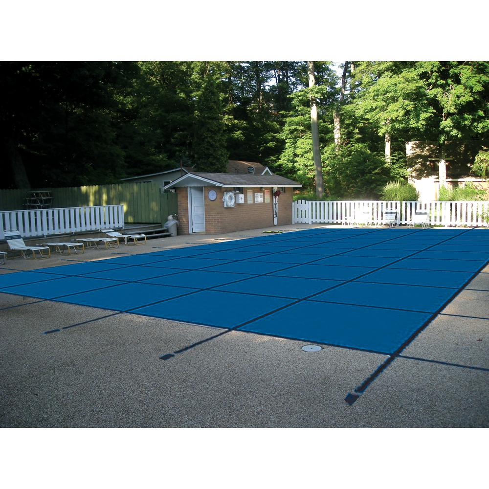 18 ft. x 36 ft. Rectangle Blue Mesh In-Ground Safety Pool...