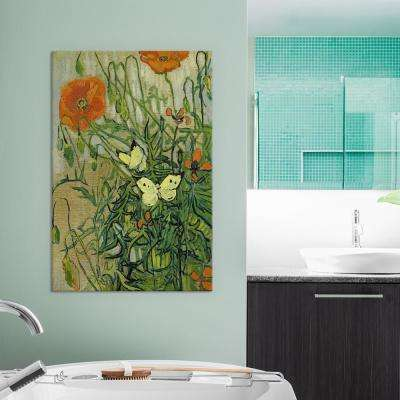 26 in. x 18 in. Butterflies and Poppies by Vincent van Gogh Canvas Wall Print
