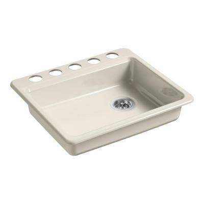 Riverby Undermount Cast Iron 25 in. 5-Hole Single Bowl Kitchen Sink in Cane Sugar