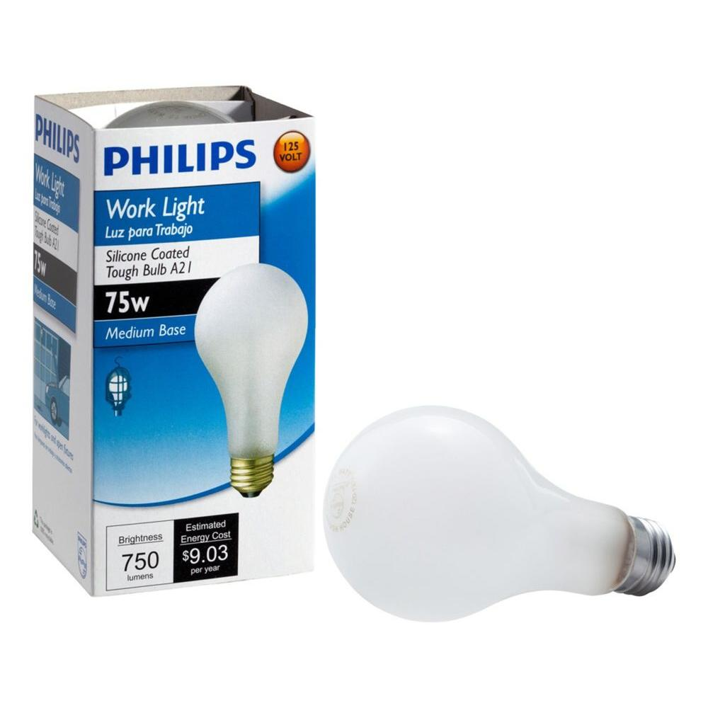 philips 75 watt a21 incadscent tuff guard light bulb 415273 the home depot. Black Bedroom Furniture Sets. Home Design Ideas