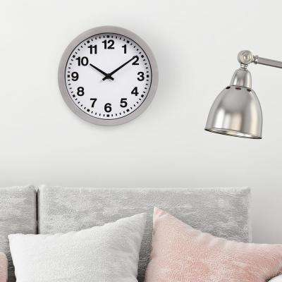 Silver Bold Numbers Wall Clock