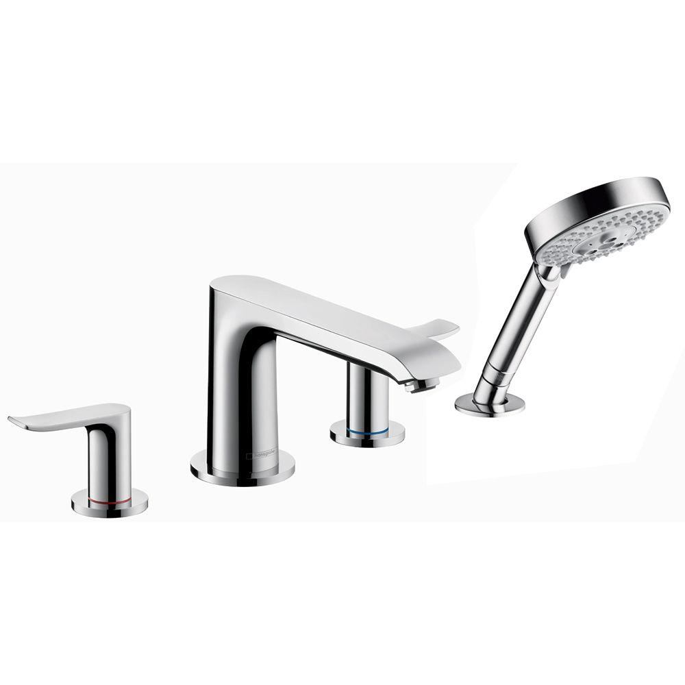 Hansgrohe Metris 2-Handle Deck-Mount Roman Tub Faucet Trim Kit with Hand Shower in Chrome (Valve Not Included)