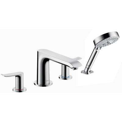 Metris 2-Handle Deck-Mount Roman Tub Faucet Trim Kit with Hand Shower in Chrome (Valve Not Included)