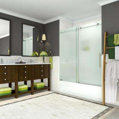 Coraline 56 - 60 in. x 60 in. Completely Frameless Sliding Tub Door with Frosted Glass in Brushed Stainless Steel