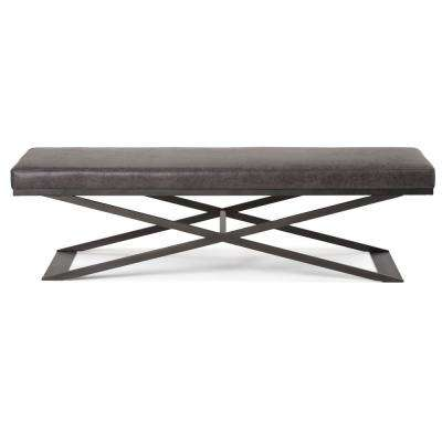 Cooper Distressed Black Large Ottoman Bench