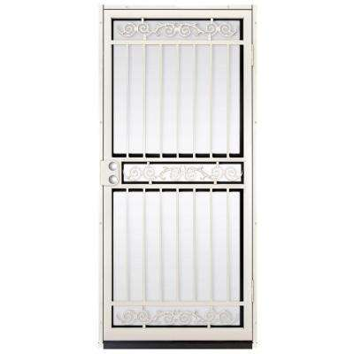 36 in. x 80 in. Sylvan Almond Surface Mount Outswing Steel Security Door with Shatter-Resistant Glass
