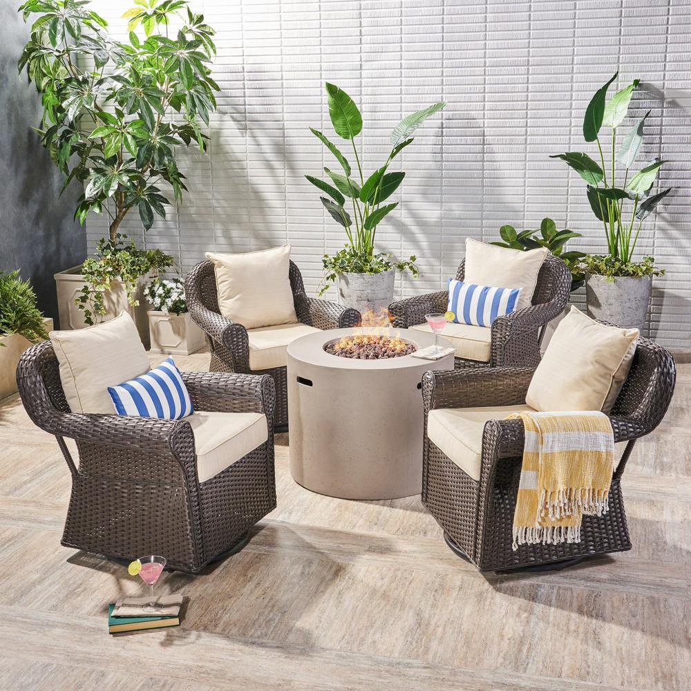 Oliver Dark Brown 5-Piece Wicker Patio Fire Pit Conversation Set with Beige Cushions