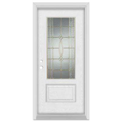 33.375 in. x 83 in. Diamanti Classic Right-Hand 3/4 Lite Brass Finished Fiberglass Oak Woodgrain Prehung Front Door