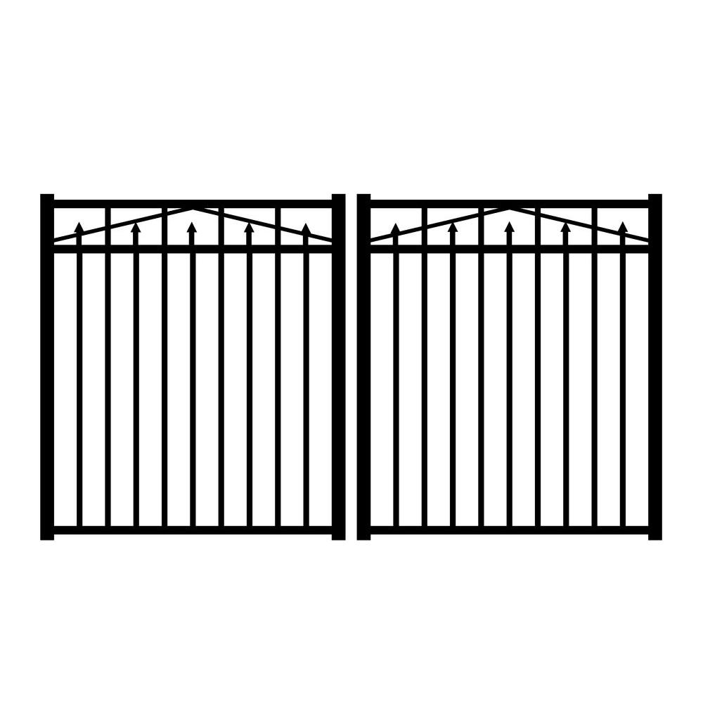 Jerith Adams 8 ft. W x 4.5 ft. H Black Aluminum Double Drive Gate with Magna Latch