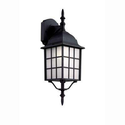Cityscape 1-Light Black Coach Lantern with Frosted Glass