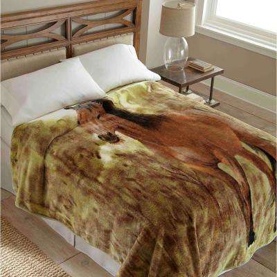 90 in. x 90 in. High Pile Horse Raschel Knit Coverlet