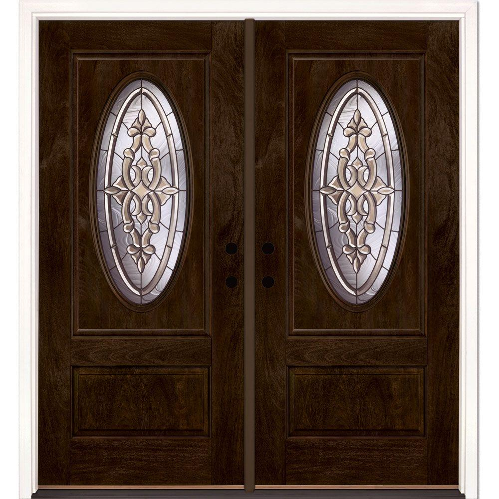 74 In.x81.625 In. Silverdale Patina 3/4 Oval Lt Stained
