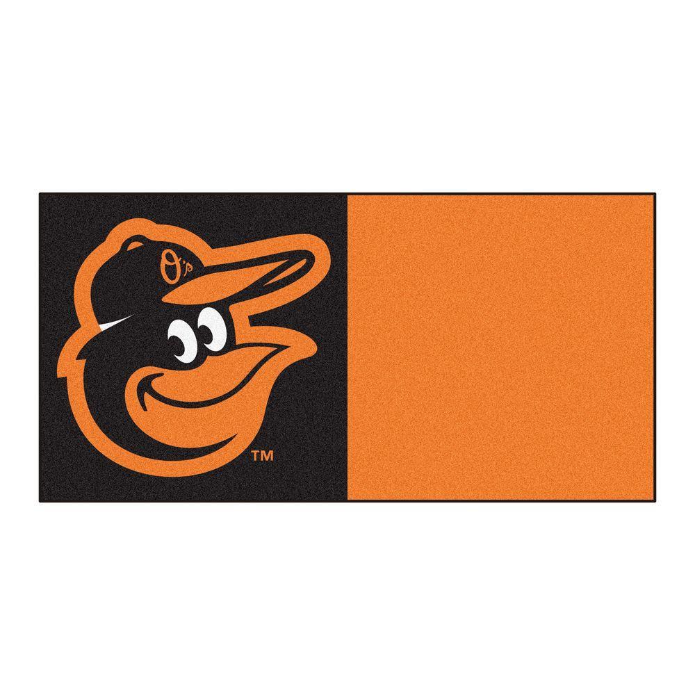 FANMATS MLB - Baltimore Orioles Black and Orange Nylon 18 in. x 18 in. Carpet Tile (20 Tiles/Case)