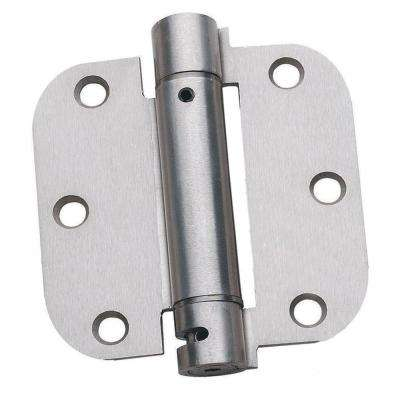 3-1/2 in. x 3-1/2 in. Satin Nickel 5/8 in. Radius Adjustable Spring Door Hinge (2-Pack)