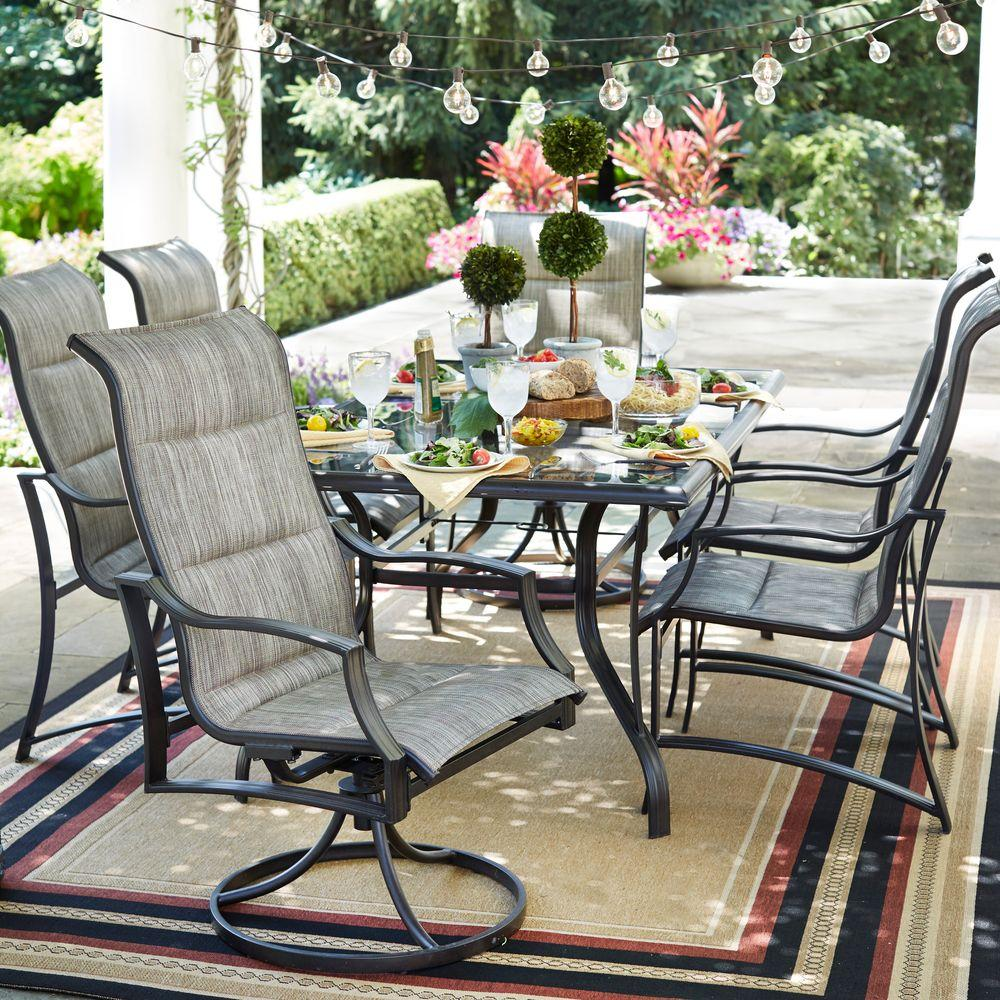 Hampton Bay Statesville Pewter 7 Piece Aluminum Outdoor Dining Set FCA70357D ST    The Home Depot. Hampton Bay Statesville Pewter 7 Piece Aluminum Outdoor Dining Set